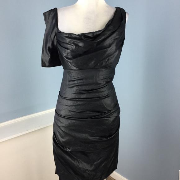 Nicole Miller Dresses Black Sheath Ruched Dress Cocktail 2 Poshmark
